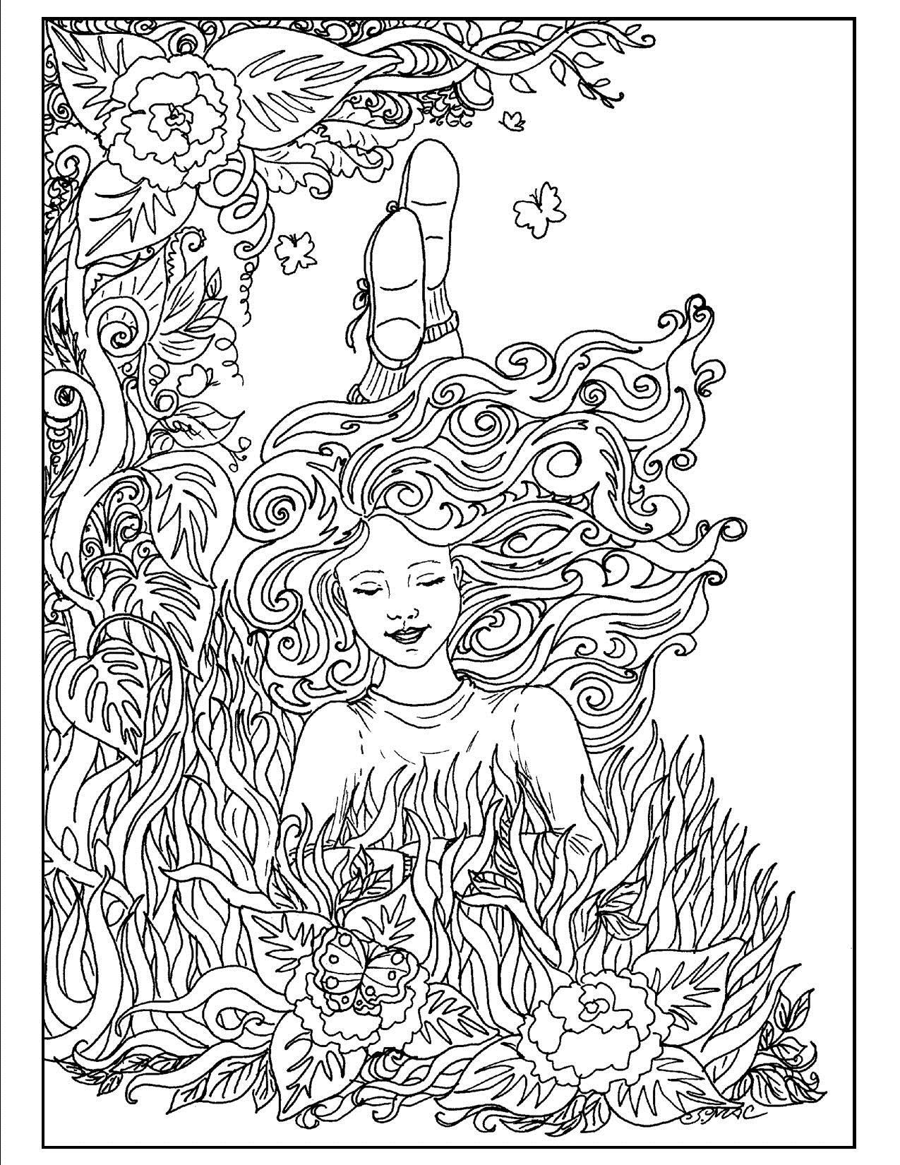 Девушка на клумбе с цветами Красивые раскраски цветов