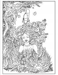 Девушка на клумбе с цветами Раскраски с цветами распечатать бесплатно