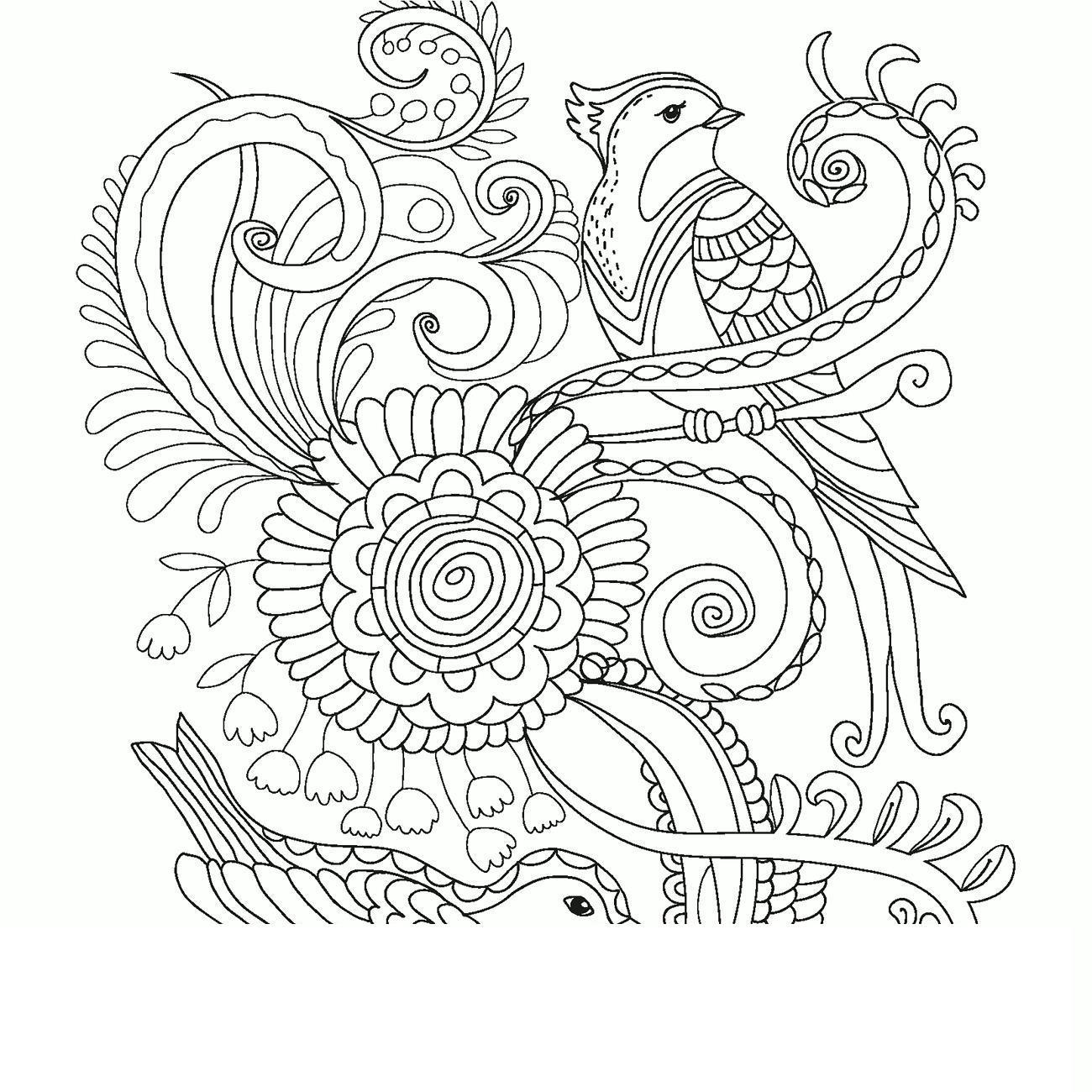 Узор птицы и цветы Раскраски детские с цветами