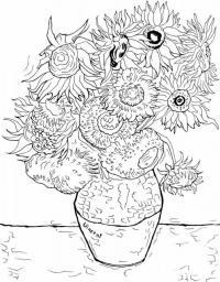 Большие цветы в глиняном горшке Раскраски с цветами распечатать бесплатно