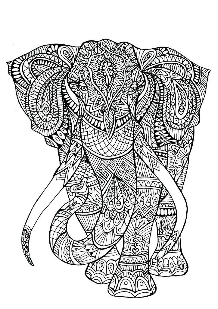 Арт терапия слон из цветочных узоров Раскраски с цветами распечатать бесплатно