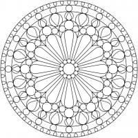 Арт терапия узор с цветком в центре в круге Фото раскраски цветы