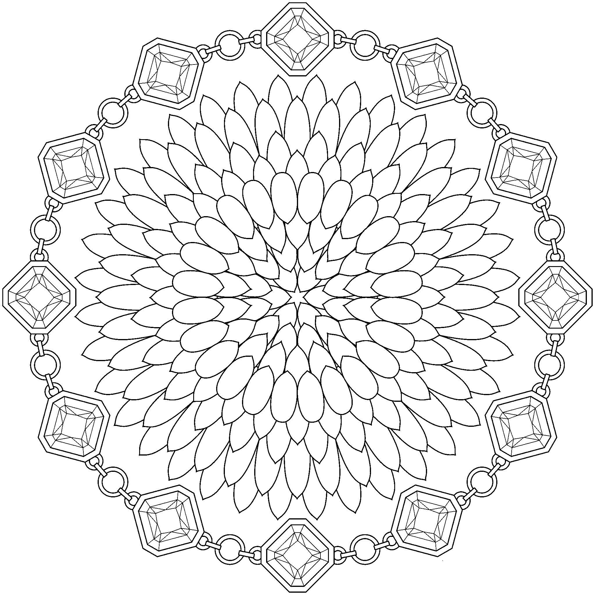 Арт терапия пион в рамке из кристаллов Фото раскраски цветы