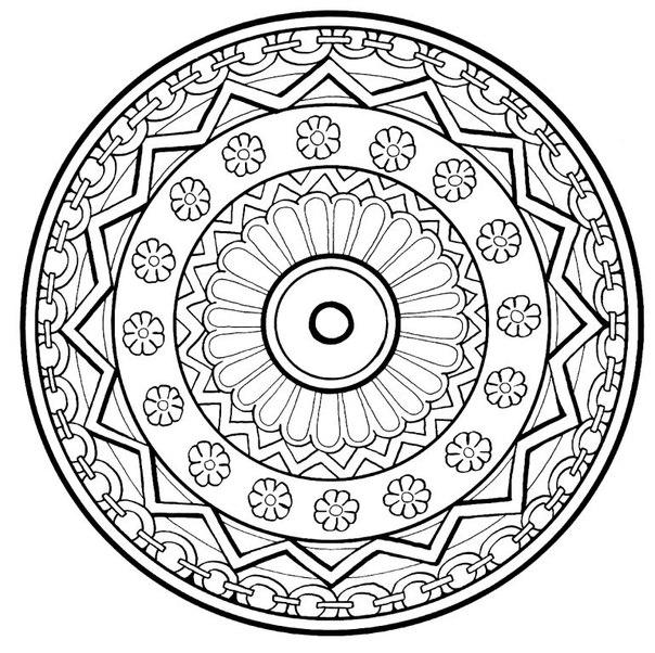 Арт терапия цветы в узоре по кругу Фото раскраски цветы