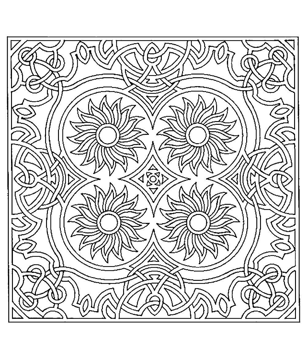 Арт терапия узор из четырех цветов Фото раскраски цветы