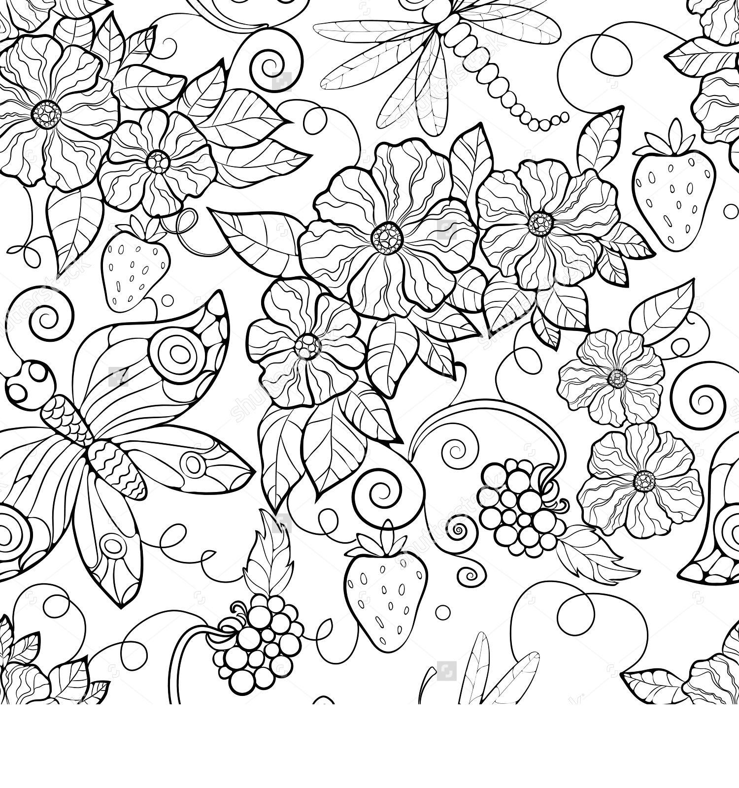 Цветы и ягоды Фото раскраски цветы