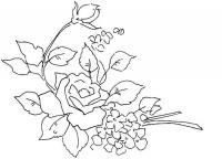 Трафарет цветка розы с бутонами и маленьками цветами Распечатываем раскраски цветы бесплатно