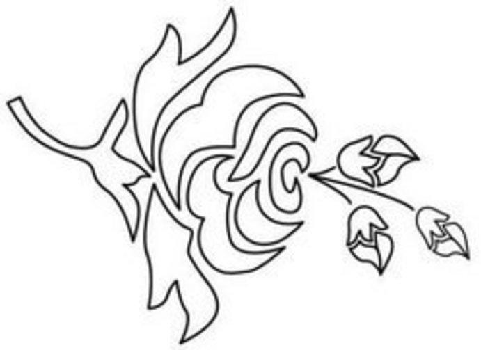 Трафарет цветка роза Раскраски с цветами распечатать бесплатно