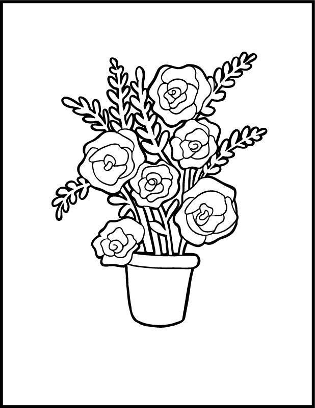 Цветы розы в горшке Детские цветы распечатать