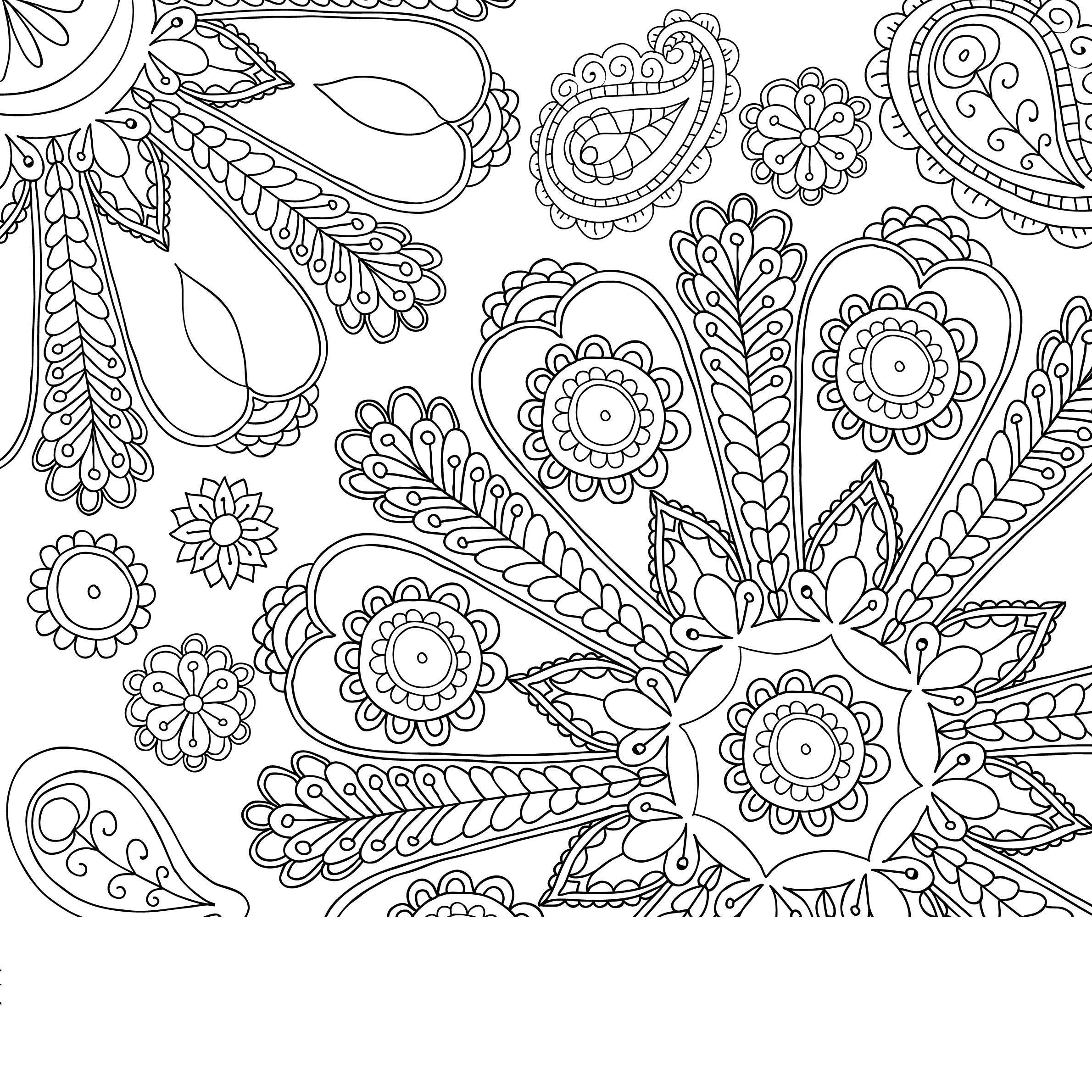 Красивый узор с цветами Раскраски с цветами распечатать бесплатно