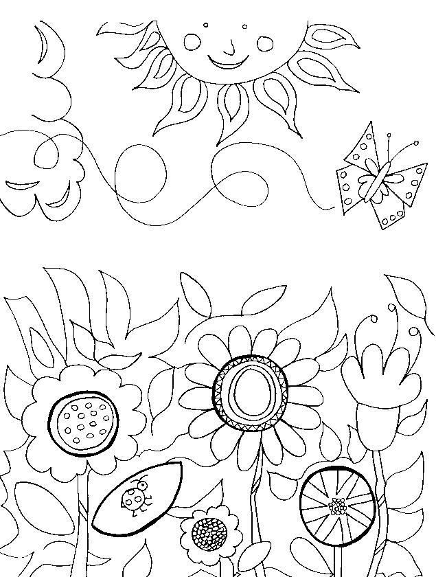 Полянка цветов Распечатываем раскраски цветы бесплатно