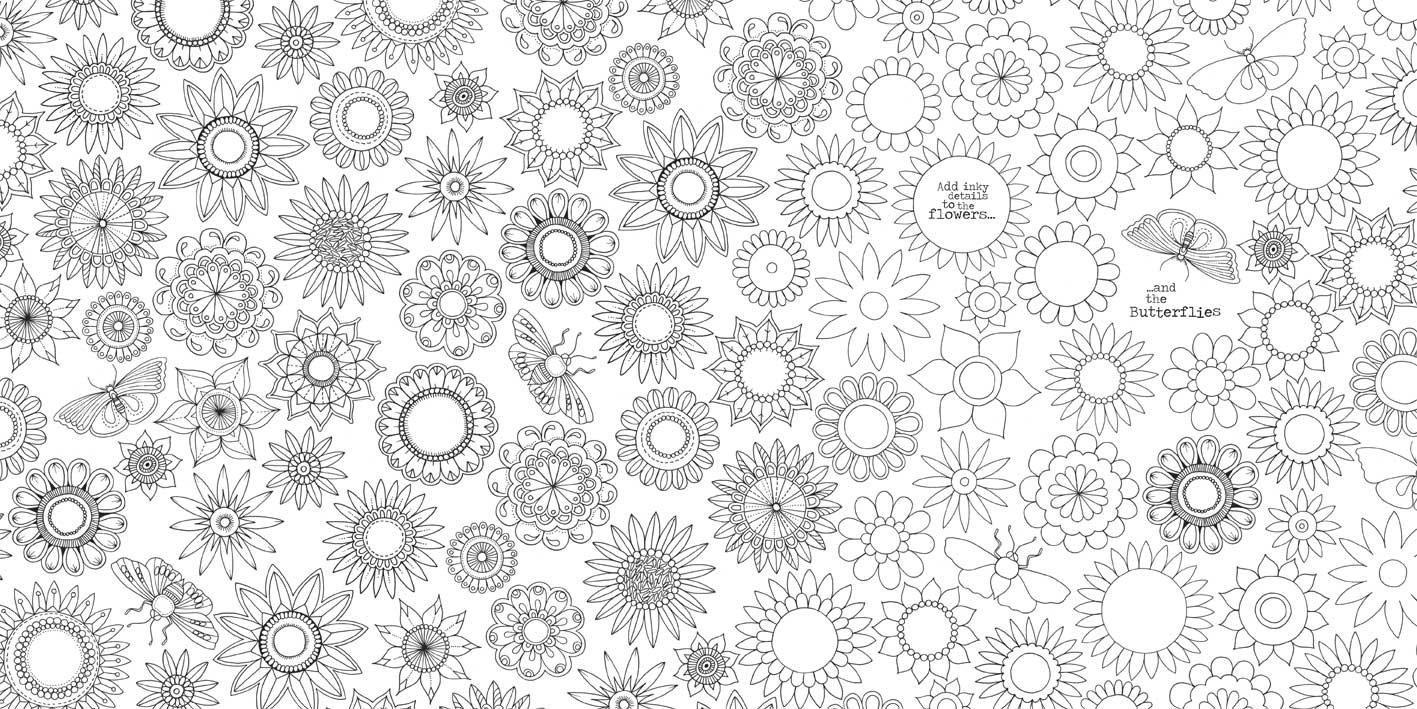 Узоры из цветов с бабочками Раскраски с цветами распечатать бесплатно
