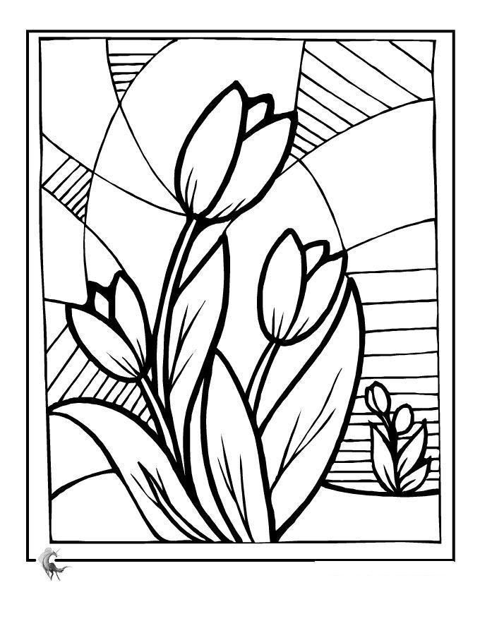 Цветы узоры с тюльпанами Фото раскраски цветы