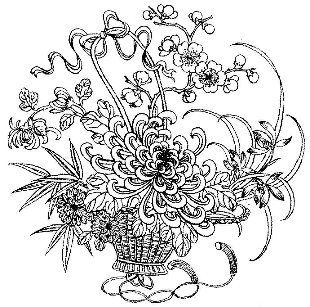 Цветы в красивой плетеной корзине Фото раскраски цветы