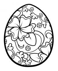Узор для пасхального яйца с цветами Черно белые раскраски цветов