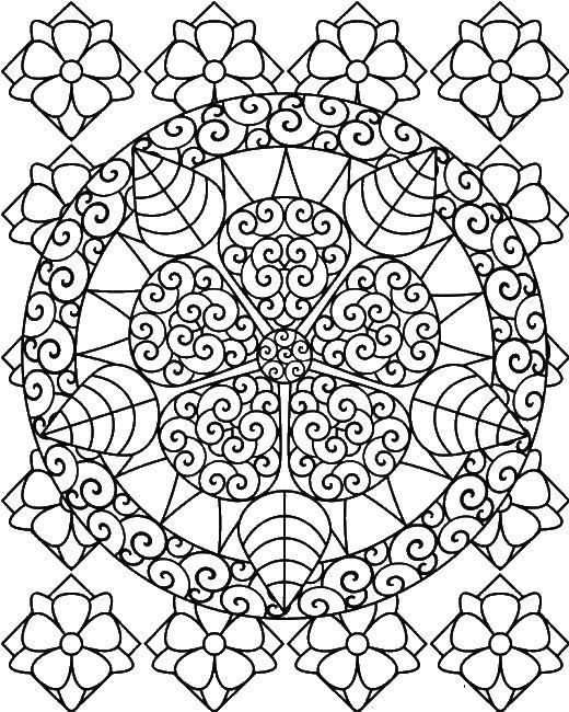 Узор из цветка Черно белые раскраски цветов