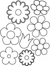 Контуры цветов для аппликации в детском саду Раскраски с цветами распечатать бесплатно