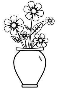 Цветы в вазе Раскраски цветов бесплатно
