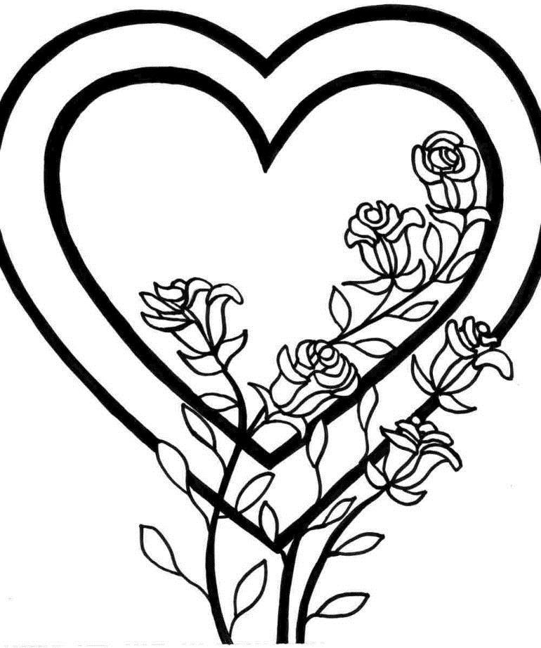Для детского сада, розы в сердце Раскраска цветок для скачивания