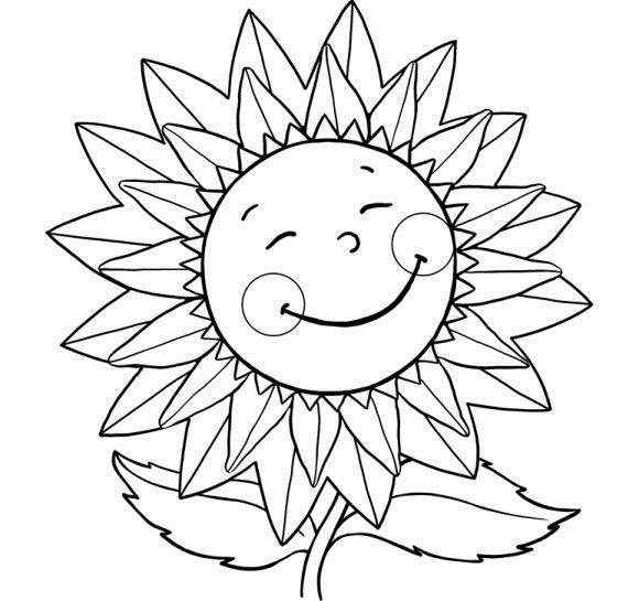 Для малышей подсолнух с улыбкой Скачать раскраски с цветами