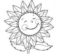 Для малышей подсолнух с улыбкой Фото раскраски цветы