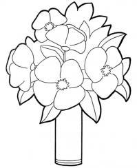 Для малышей цветы в вазе Раскраски с цветами распечатать бесплатно