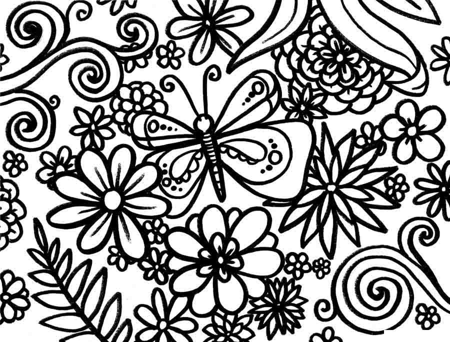 Сложные цветочные узоры с бабочкой Раскраски цветов скачать