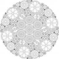 Сложные узоры в круге с цветами и бабочками Раскраски цветов скачать