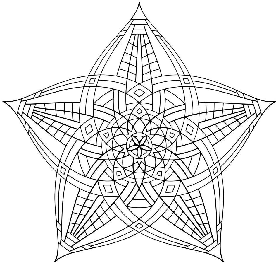 Сложные узоры пяти лепестков Раскраски цветов скачать