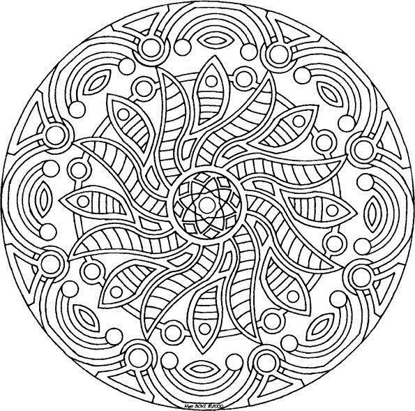 Сложные узоры в круге в виде цветка Раскраски цветов скачать