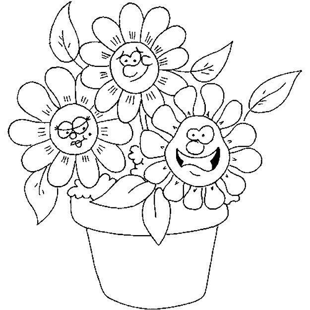 Цветы с улыбками в горшке Раскраски цветочки  для девочек