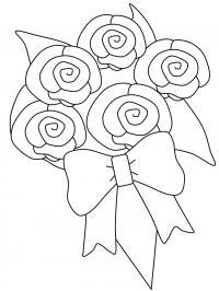 Цветы розы с бантом Раскраски с цветами распечатать бесплатно