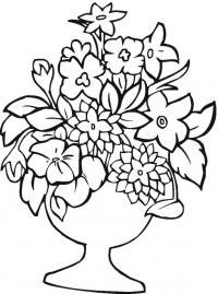 Цветы в вазе с подставкой Раскраски с цветами распечатать бесплатно