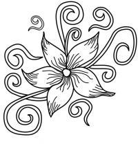Цветок с завитками Раскраски с цветами распечатать бесплатно