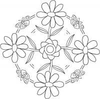 Цветы в круглом узоре с бабочками Разукрашки цветы
