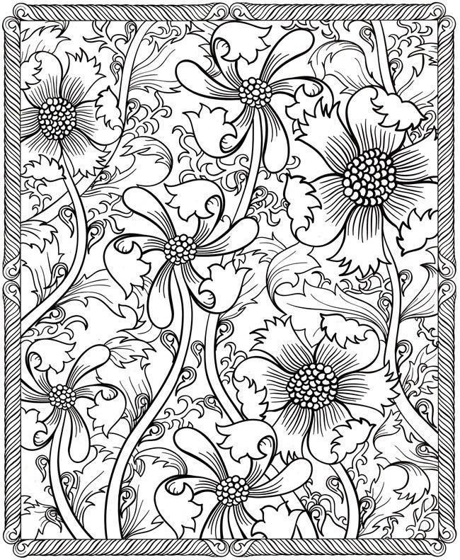 Цветы в рамке, узор из цветов Фото раскраски цветы