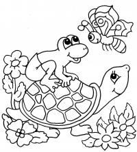 Черепаха в цветах Раскраски с цветами распечатать бесплатно