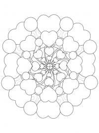 Цветок из сердечек Распечатываем раскраски цветы бесплатно