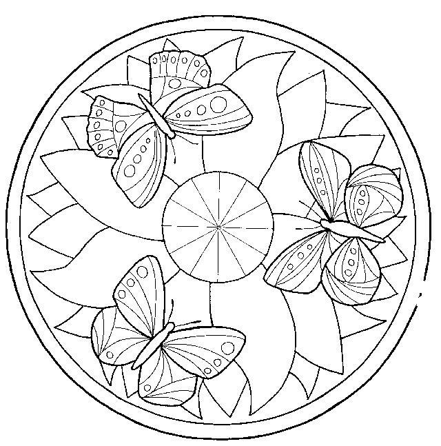 Цветы, узор бабочки на цветке Распечатываем раскраски цветы бесплатно