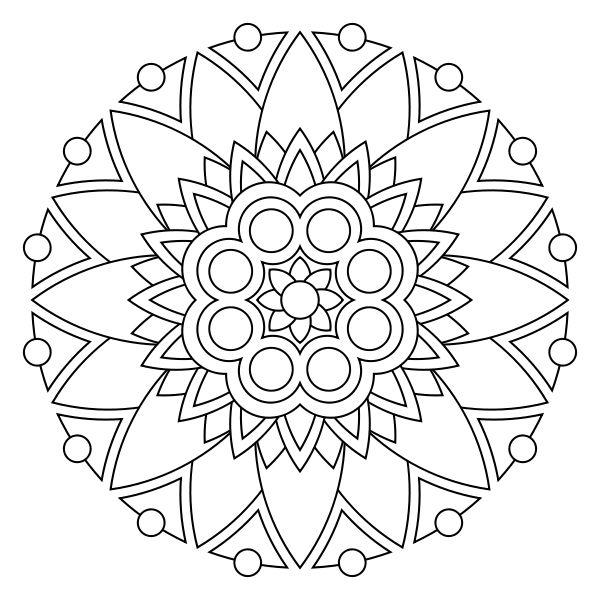 Цветы в круге с шарами Разукрашки цветы