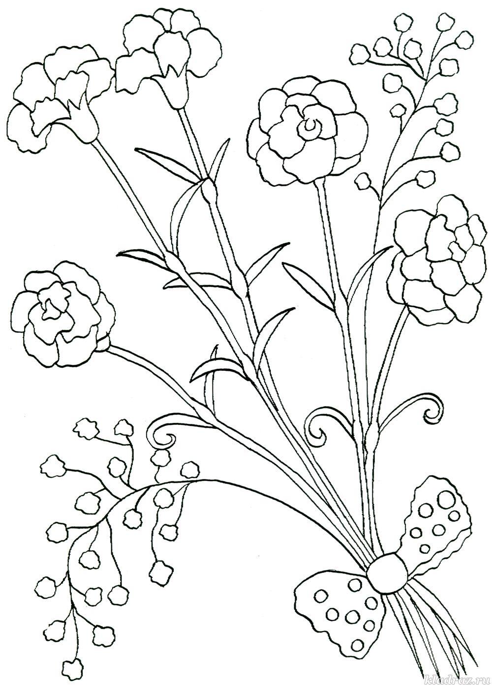Летние цветы в букете Раскраски цветов бесплатно