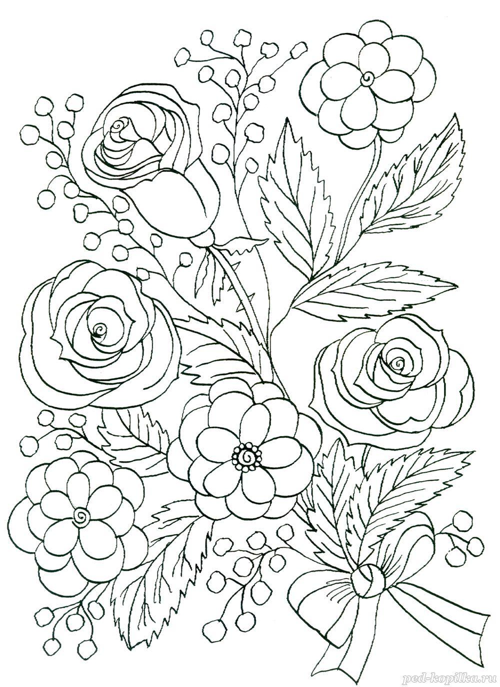 Летние цветы розы в букете Раскраски с цветами распечатать бесплатно