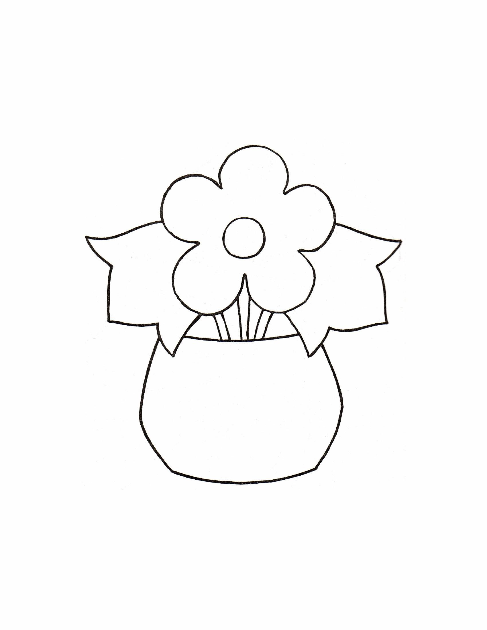 Цветок в горшке Детские цветы распечатать