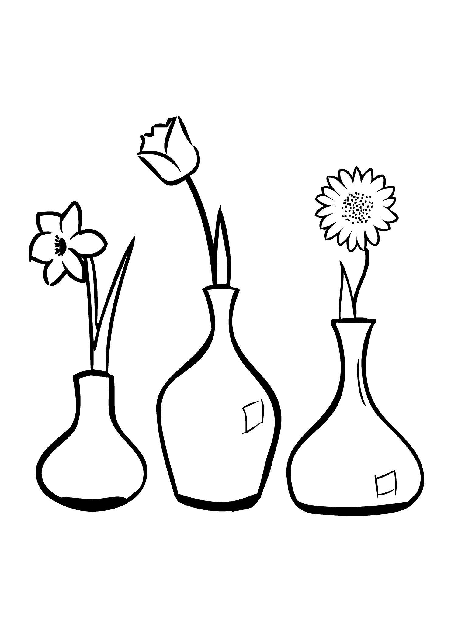 Цветок в вазах Раскраски с цветами распечатать бесплатно