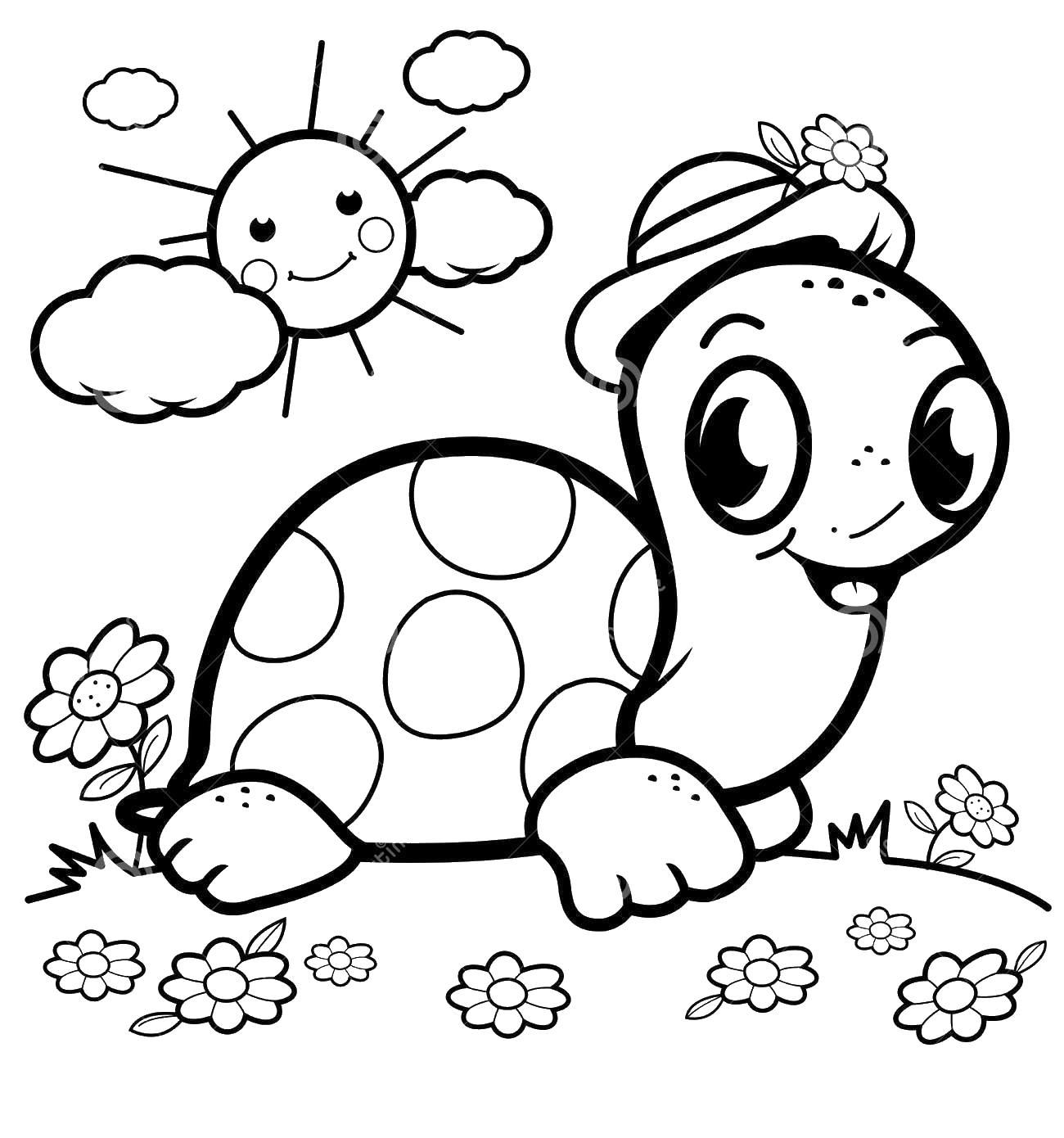 Черепашка ползет по поляне с цветами Раскраски с цветами распечатать бесплатно