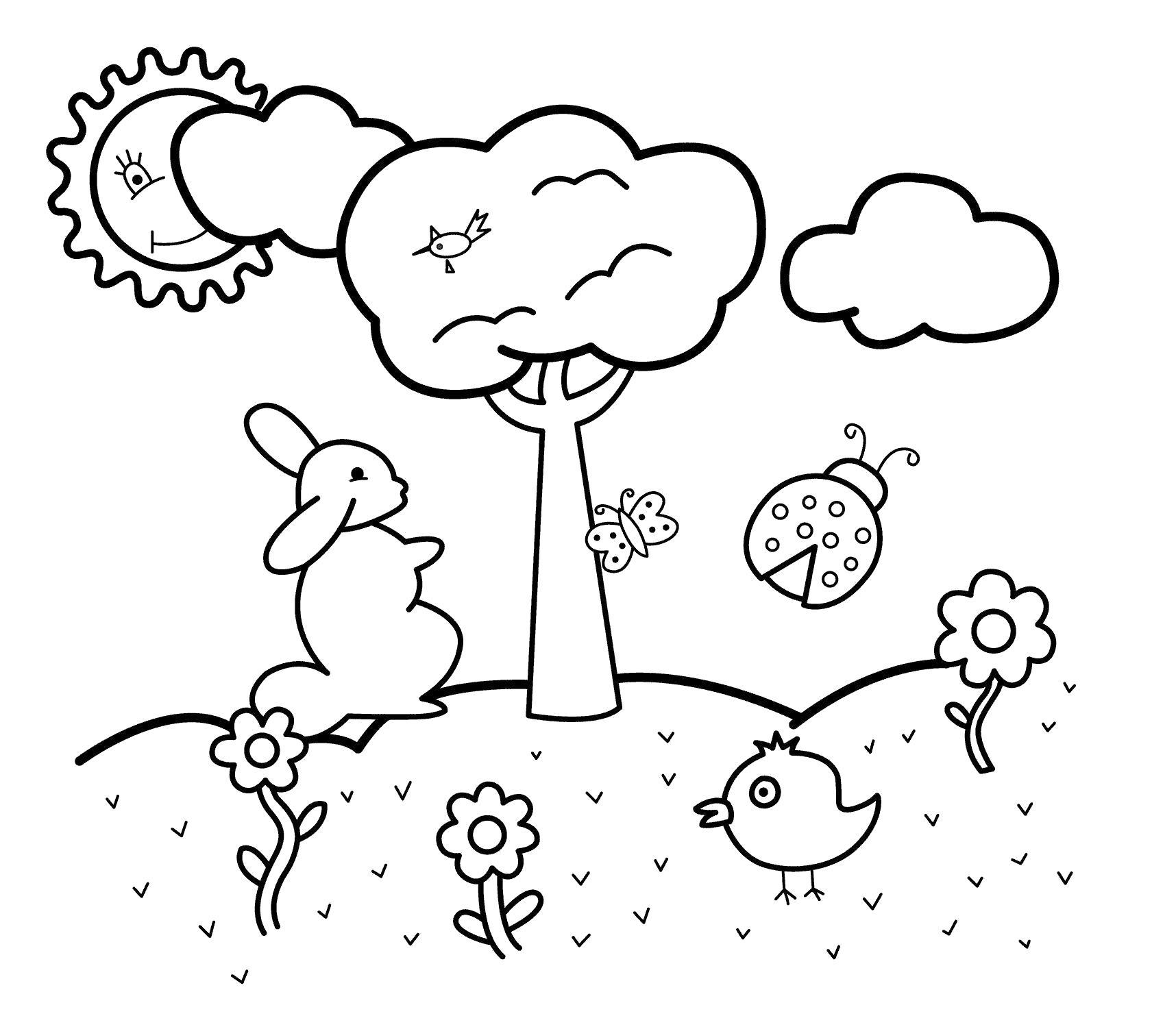 Поляна с цветами и деревом. солнце за облаками Раскраски с цветами распечатать бесплатно