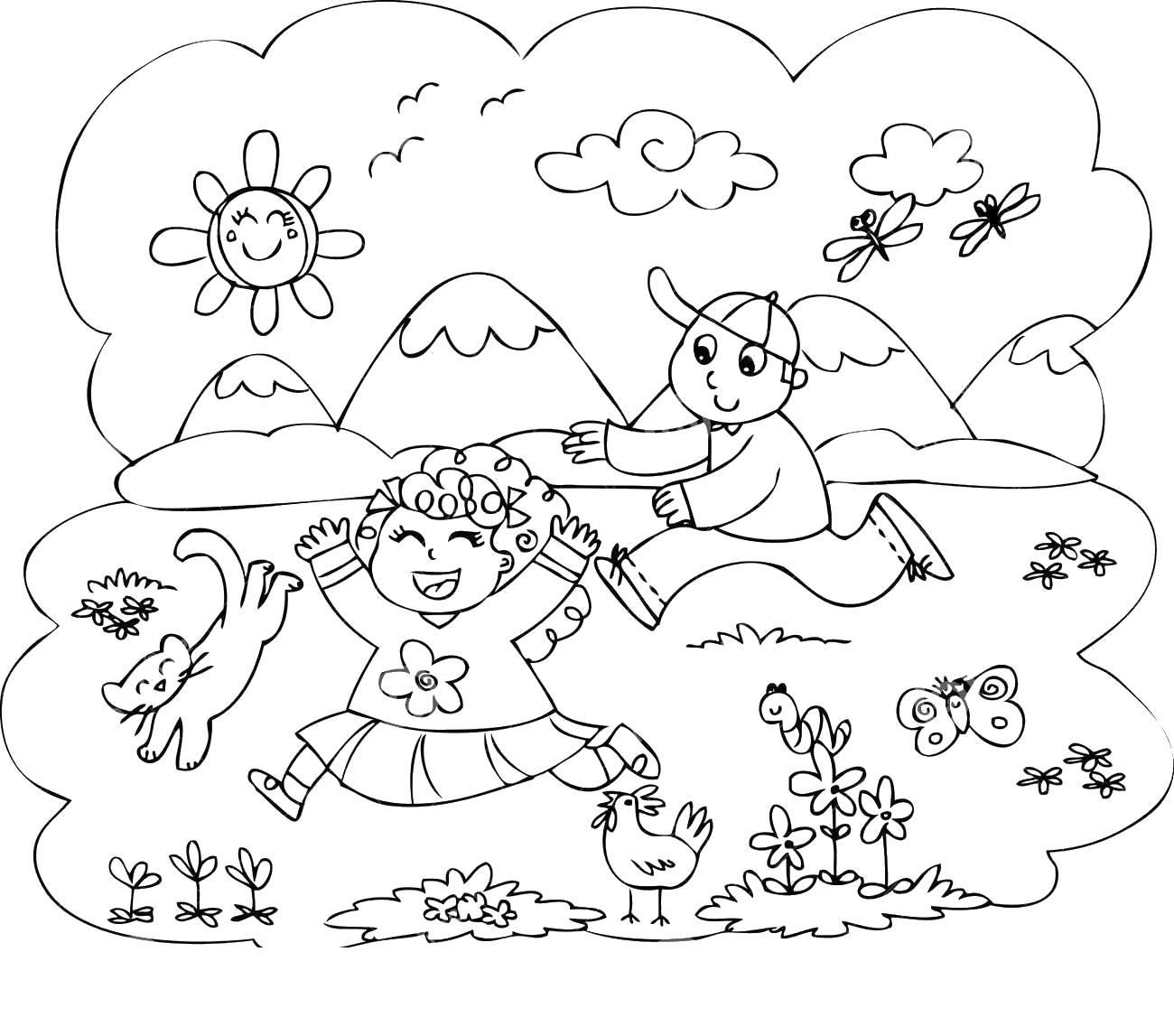Семья отдыхает на природе Раскраски цветочки для детей бесплатно