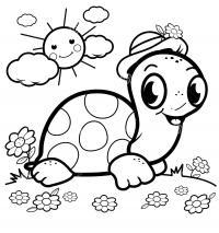 Черепашка ползет по поляне с цветами Раскраски цветочки для детей бесплатно