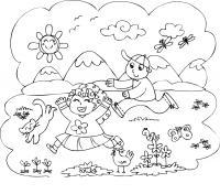 Семья отдыхает на природе Раскраски с цветами распечатать бесплатно