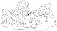 Сказочная поляна с фей улиткой и цветами Раскраски с цветами распечатать бесплатно